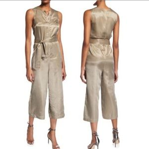 CAARA Lowe Gold Hammered Satin Jumpsuit NEW